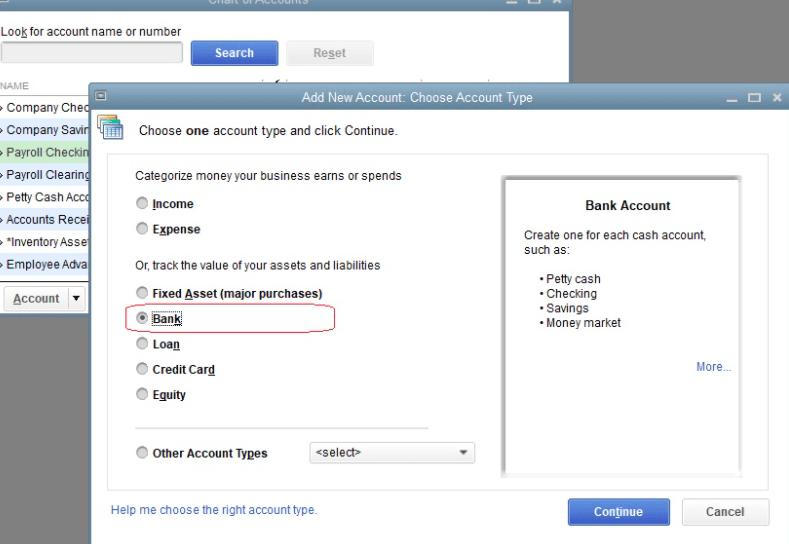 add account in Quickbooks desktop