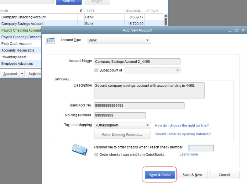 add an account in Quickbooks desktop