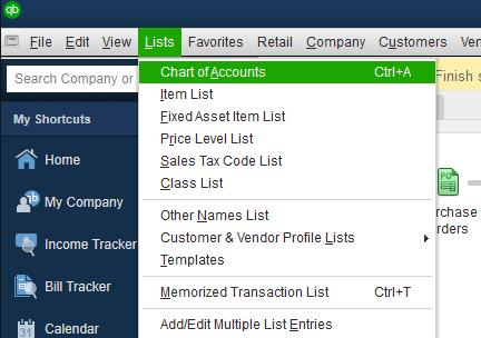 create an account in Quickbooks desktop